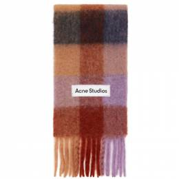 Acne Studios Brown and Purple Alpaca Check Scarf CA0084-
