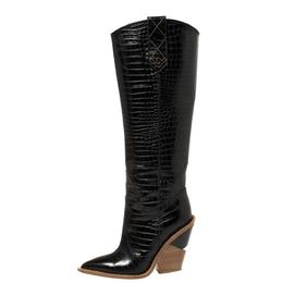 Fendi Black Croc Embossed Leather Cowboy Boots Size 35 425221