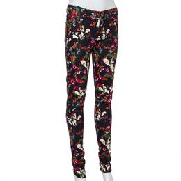 Alice + Olivia Black Floral Printed Denim Skinny Fit Jeans S 425582