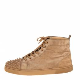 Christian Louboutin Beige Suede Spikes High Top Sneakers Size 42.5 425403