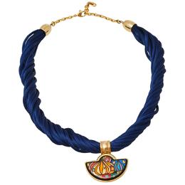 Frey Wille Hommage à Hundertwasser Street Rivers Fire Enamel Gold Plated Half Moon Pendant Necklace 425063