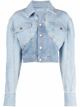 Mugler двухцветная укороченная джинсовая куртка 21S6VE0338247