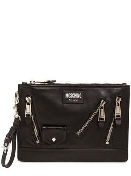 Кожаный Клатч Moschino 74IXH6009-NTU10
