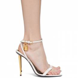Tom Ford White Leather Padlock 105 Heeled Sandals W2272T-LKD002