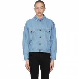 Opening Ceremony Blue Denim Warped Logo Jacket YMYE003S21DEN0014604