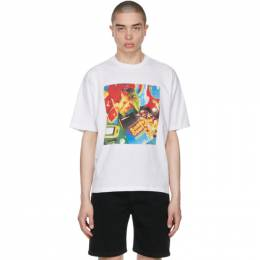 Opening Ceremony White Cowboy Print T-Shirt YMAA001S21JER0070184