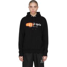 Palm Angels Black and Orange Sprayed Logo Beverly Hills Hoodie PMBB003S21FLE0101066