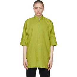 Homme Plisse Issey Miyake Green Cotton Linen Shirt HP17FJ015