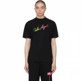 Palm Angels Black Multicolor Logo T-Shirt PMAA001S21JER0131084