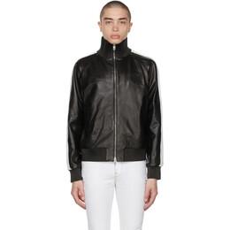 Amiri Black Leather M.A. Zip Track Jacket MLT001-001