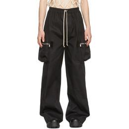 Rick Owens Black Wide-Leg Drawstring Cargo Pants RU21S6364 TE