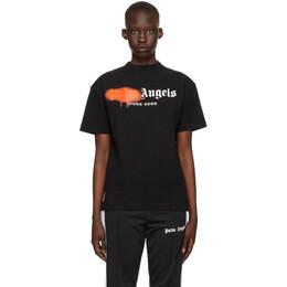 Palm Angels Black and Orange Sprayed Logo Hong Kong T-Shirt PMAA001S21JER0411020