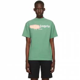 Palm Angels Green GD Bear Head Classic T-Shirt PMAA001S21JER0145510