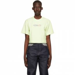 Off-White Green Cropped Cards Logo T-Shirt OWAA090S21JER0035587