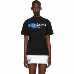 Palm Angels Black and Blue Sprayed Logo New York T-Shirt PMAA001S21JER0401045