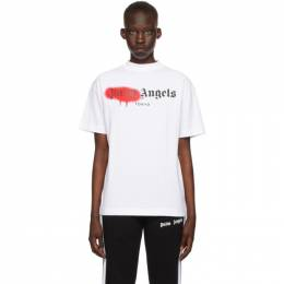 Palm Angels White and Red Sprayed Logo Tokyo T-Shirt PMAA001S21JER0280125