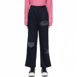 Brain Dead Navy Whips and Chains Trousers BDP21B09001804NY01
