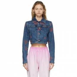 Opening Ceremony Blue Denim Allover Roses Jacket YWYE001S21DEN0014725