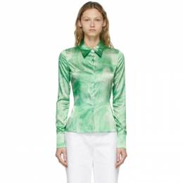 Opening Ceremony Green Allover Marble Shirt YWGA009S21FAB0015504
