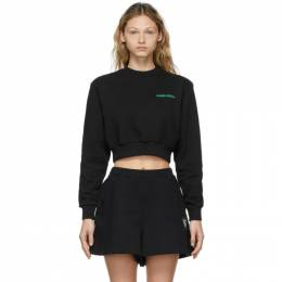 Opening Ceremony Black Word Torch Cropped Sweatshirt YWBA010S21FLE0011121