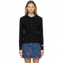 Opening Ceremony Black Ribbed Petal Collar Polo YWHA003S21KNI0011111