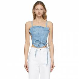 Opening Ceremony Blue Denim Bleach Rose Bra Tank Top YWYP002S21DEN0014600