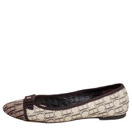 Carolina Herrera Brown/Beige Monogram Canvas Cap Toe Bow Ballet Flats Size 39 425437