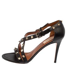 Valentino Black Leather Rockstud Open Toe Sandals Size 39 425810