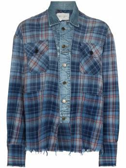 Greg Lauren куртка со вставкой из денима BM110