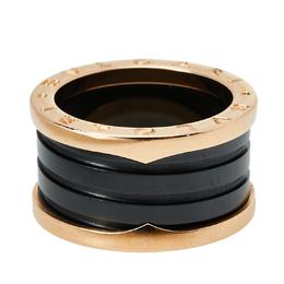 Bvlgari B.Zero1 Black Ceramic 18K Rose Gold 4-Band Ring Size 54 426250