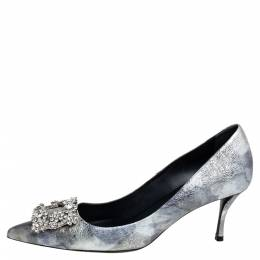 Roger Vivier Silver Foil Leather Flower Strass Crystal Embellished Pointed Toe Pumps Size 37 426809