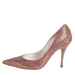 Rene Caovilla Beige Satin Embellished Pointed Toe Pumps Size 39 426458