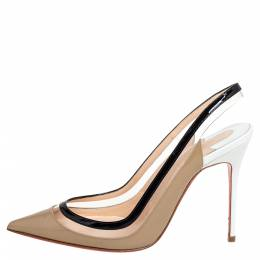 Christian Louboutin Beige/Black PVC And Patent Leather Paulina Pointed Toe Slingback Sandals Size 36 426437