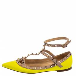 Valentino Neon Green Patent And Leather Rockstud Ankle Strap Ballet Flats Size 38.5 426470