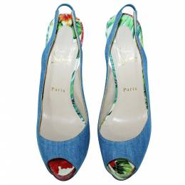 Christian Louboutin Blue Denim Private Number Sandals Size 39.5 407862