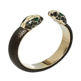 Bvlgari Serpenti Forever Metallic Brown Embossed Leather Open Cuff Bracelet 426949