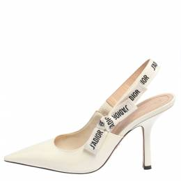 Dior Off-White Patent Leather J'Adior Slingback Pumps Size 40 428535