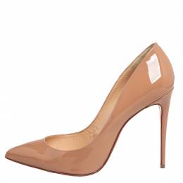 Christian Louboutin Beige Patent Leather Pigalle Follies Pumps Size 36.5 427295