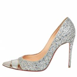 Christian Louboutin Silver Leather And Glitter Biblio Pumps Size 36.5 427257