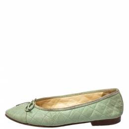 Chanel Mint Green Quilted Leather Bow CC Cap Toe Ballet Flats Size 37 426829