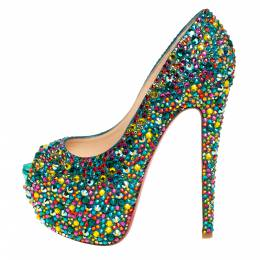 Christian Louboutin Green Leather Highness Crystal Embellished Pumps Size 37.5 428355