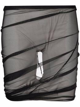 Rick Owens драпированные шорты Runway из тюля RO21S3358TUSW