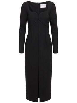 Stretch Double Wool Dress W/ Front Slit Carolina Herrera 73IXS3005-MDAx0