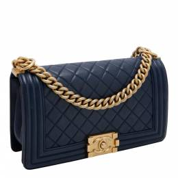 Chanel Navy Blue Calfskin Leather Gold Tone Finish Metal Boy Bag 425561