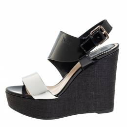 Dior Silver/Black Patent And Leather Wedge Slingback Platform Sandals Size 38 428585