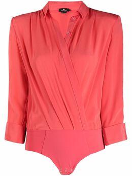 Elisabetta Franchi рубашка-боди с драпировкой CB01511E2