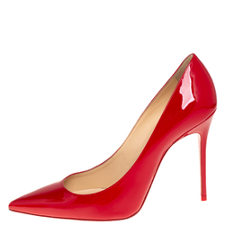 Christian Louboutin Red Patent Leather Pigalle Follies Pumps Size 38.5 426955