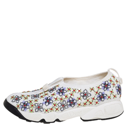 Dior White Mesh Embellished Fusion Slip On Sneakers Size 38 428682