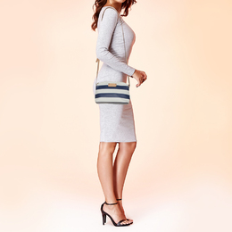 Kate Spade White/Blue Stripes PVC and Leather Wellesley Hanna Crossbody Bag 428549