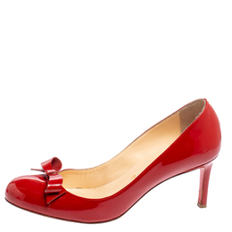 Christian Louboutin Red Patent Leather Vinodo Bow Pumps Size 38 429393